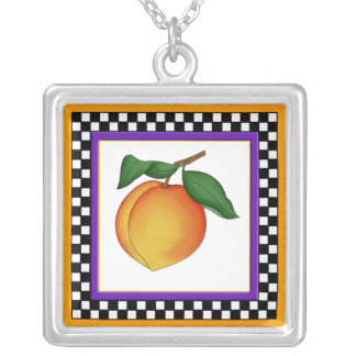Juicy Peach and Checkerboard Square Necklace