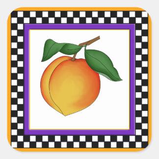 Juicy Peach and Checkerboard Square Stickers