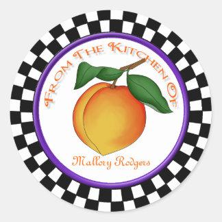 Juicy Peach & Checkerboard Kitchen Round Stickers