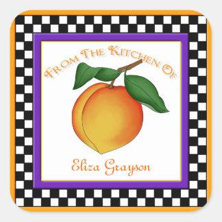 Juicy Peach & Checkerboard Kitchen Square Stickers
