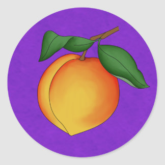 Juicy Peach & Purple Background Round Stickers