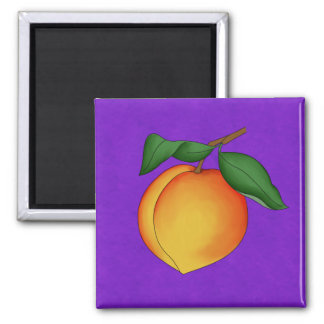 Juicy Peach & Purple Background Square Magnet