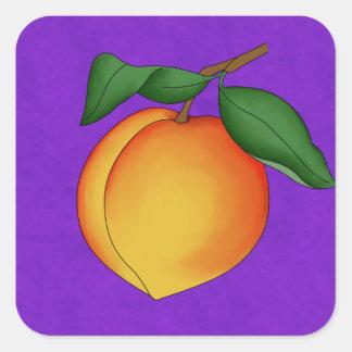 Juicy Peach & Purple Background Square Stickers