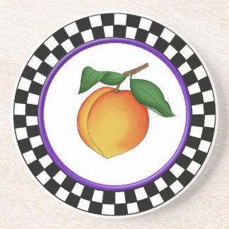 Juicy Peach & Round Checkerboard Border Coaster