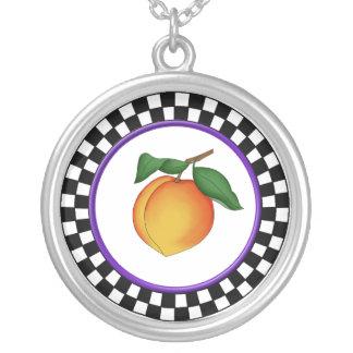 Juicy Peach & Round Checkerboard Border Necklace