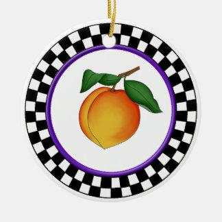 Juicy Peach & Round Checkerboard Border Ornament