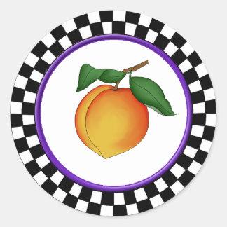 Juicy Peach & Round Checkerboard Border Round Stic Classic Round Sticker