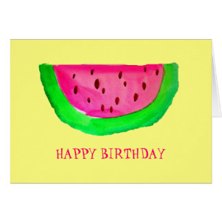 Juicy pink watermelon fruit Happy Birthday Card
