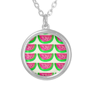 Juicy pink  watermelon fruit pattern on lemon necklace