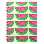 Juicy pink  watermelon fruit pattern on lemon notebooks
