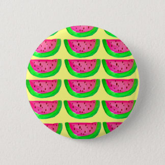 Juicy pink  watermelon fruit pattern on lemon pinback button