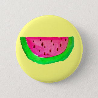 Juicy pink watermelon fruit pinback button
