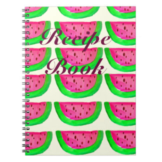 Juicy pink watermelon fruit recipe book spiral note book