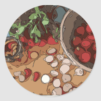 Juicy Radishes and Grilled Potato Classic Round Sticker