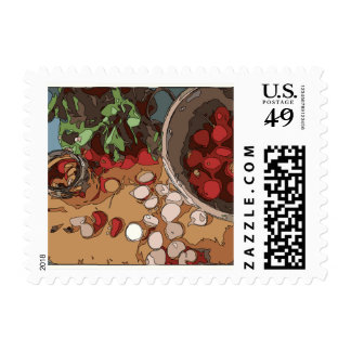 Juicy Radishes and Grilled Potato Postage Stamps