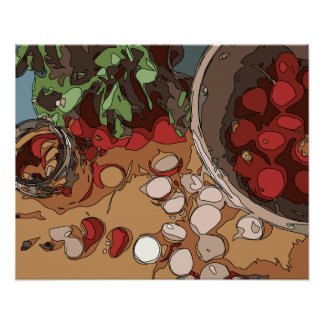 Juicy Radishes and Grilled Potato Poster