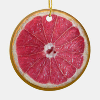 Juicy Red Grapefruit Double-Sided Ceramic Round Christmas Ornament