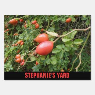 Juicy Red Rose Hips Custom Yard Sign