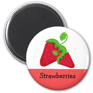 Juicy Red  Strawberries 2 Inch Round Magnet