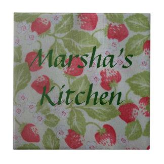Juicy Red Strawberries Custom Name Tile