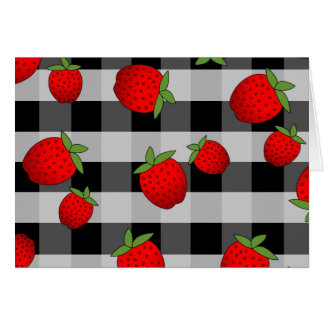 Juicy Strawberry on Check - Black and white Card