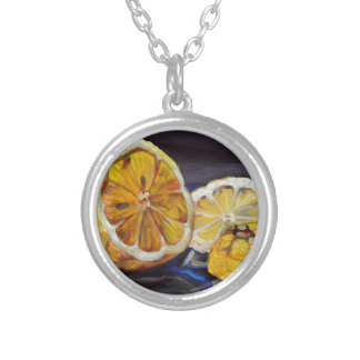 Juicy Tart Lemon Half Silver Plated Necklace