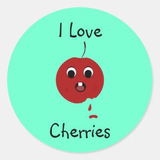 juicycherry, I Love, Cherries Classic Round Sticker