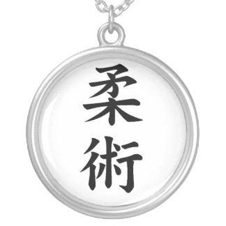 jujitsu kanji silver plated necklace