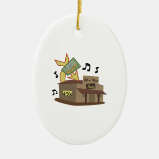 Juke Joint Building Double-Sided Oval Ceramic Christmas Ornament