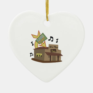 Juke Joint Building Double-Sided Heart Ceramic Christmas Ornament