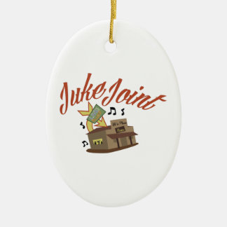 Juke Joint Double-Sided Oval Ceramic Christmas Ornament