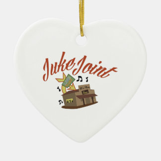 Juke Joint Double-Sided Heart Ceramic Christmas Ornament
