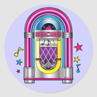 Jukebox with Stars and Notes Classic Round Sticker