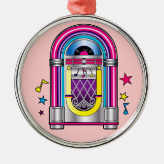 Jukebox with Stars and Notes Metal Ornament