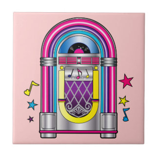 Jukebox with Stars and Notes Ceramic Tile