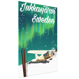 Jukkasjärvi Sweden Northern lights vacation poster Canvas Print