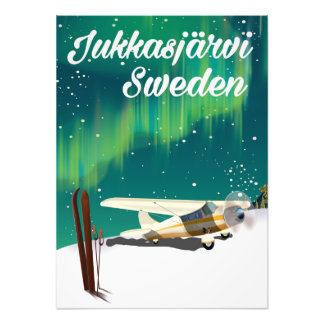 Jukkasjärvi Sweden Northern lights vacation poster Photo Print