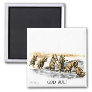 Jul Pigs on Ice 2 Inch Square Magnet