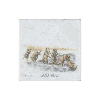 Jul Pigs on Ice Stone Magnet