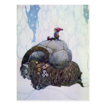Julbocken Riding Yule Goat Postcard