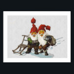 "Julenisse Friends Sledding Postcard<br><div class=""desc"">A colorful pair of gnomes with long beards stand together in the snow. 19th century art by Jacobsen.</div>"