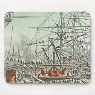 Jules Feratt Floating City Sailing Ship Dockyard Mouse Pad
