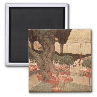 Jules Guerin Garden Gethsemane Art Tree Israel 2 Inch Square Magnet