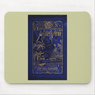 Jules Verne A Floating City Antique Book Cover Mousepads