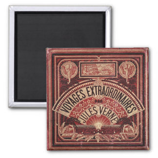 """JULES VERNE """"EXTRAORDINARY VOYAGES"""" (1878) 2 INCH SQUARE MAGNET"""