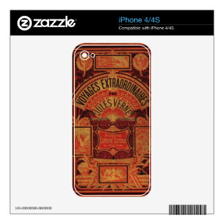 Jules Verne Extraordinary Voyages antique Book Decals For iPhone 4