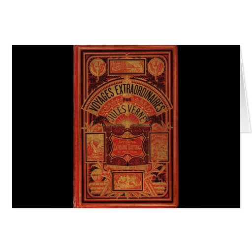 Jules Verne Extraordinary Voyages Book Cover Greeting Cards