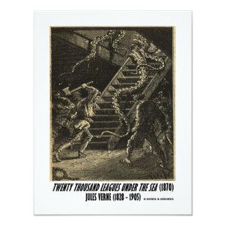 Jules Verne Twenty Thousand Leagues Squid 4.25x5.5 Paper Invitation Card