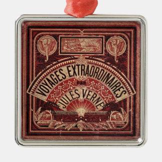 """JULES VERNE """"VIAJES EXTRAORDINAIRES"""" (1878) ADORNO NAVIDEÑO CUADRADO DE METAL"""