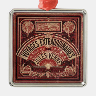 """JULES VERNE """"VIAJES EXTRAORDINAIRES"""" (1878) ADORNO CUADRADO PLATEADO"""